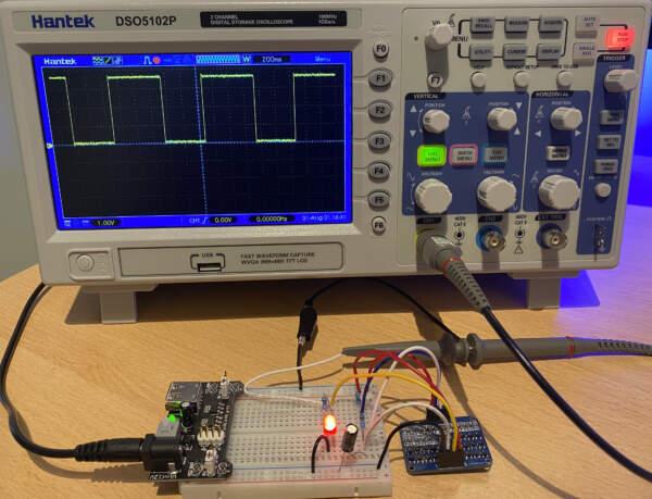 Square wave shown on oscilloscope